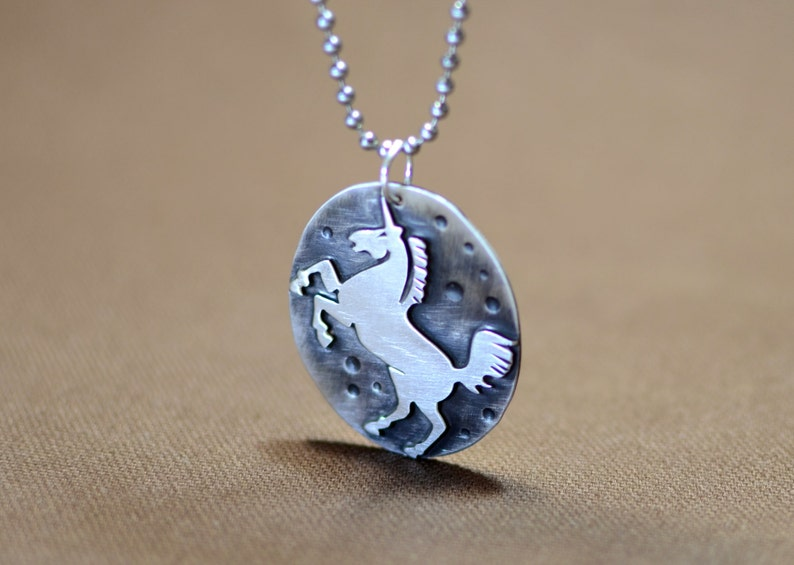 solid 925 NL793 Unicorn Necklace with artisan handsawed unicorn on antiqued silver backing