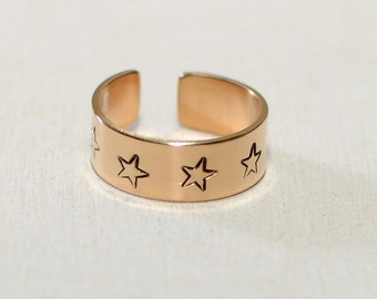 14K solid gold toe ring with stars