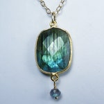 RESERVED for Catherine: Flashy Faceted Bezel-Set Labradorite and Gold Pendant Necklace, Vibrant Green and Aqua Blue Flash, Gold Bezel