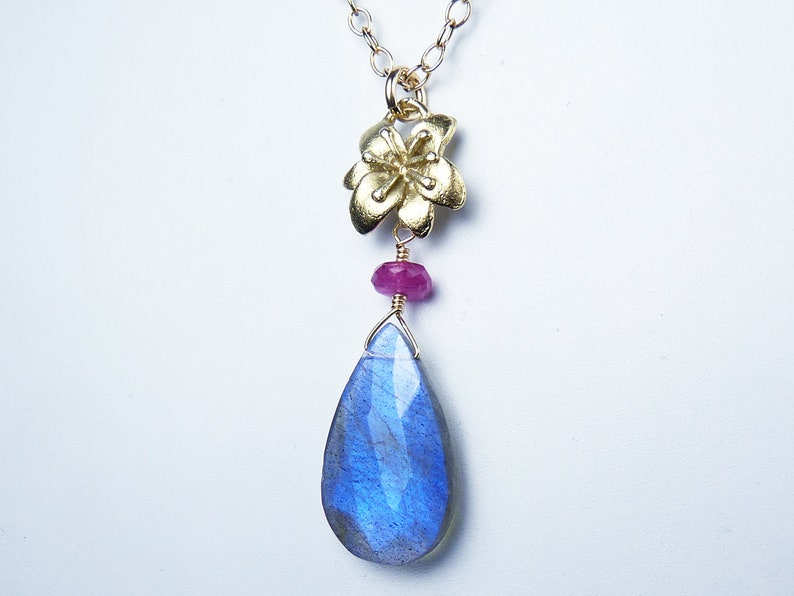 AAA Faceted Blue Labradorite and Pink Sapphire Pendant image 0