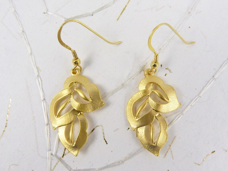 Large Gold Earrings Brushed Gold Earrings Lightweight Gold image 0