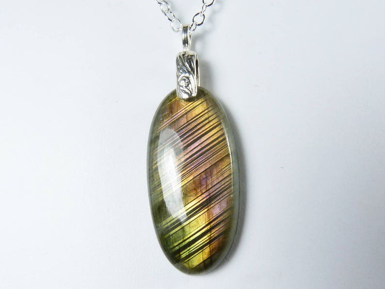 Long Labradorite and Silver Pendant Necklace Rare Pink Gold image 0