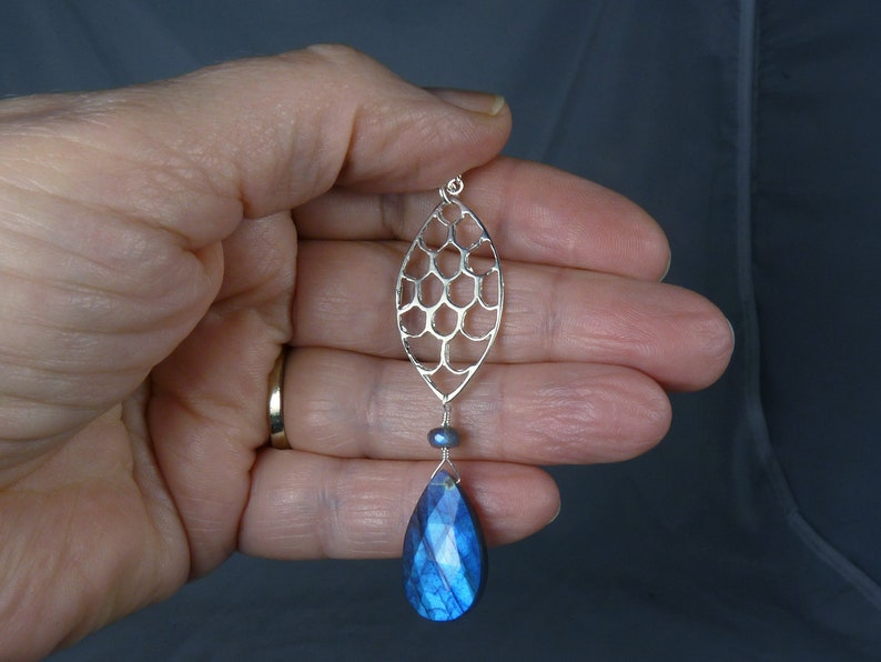 AAA Faceted Blue Labradorite and Sterling Silver Pendant image 0