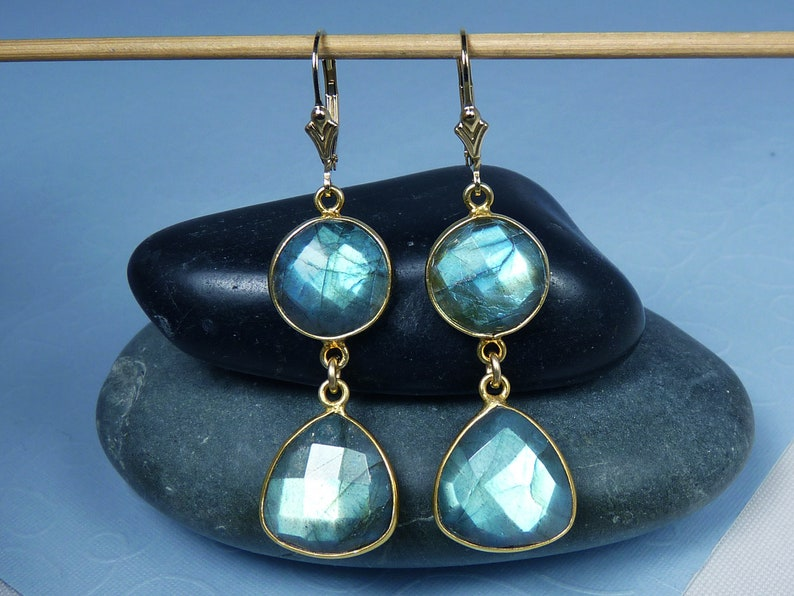 Long Large Flashy Faceted Labradorite and Gold Earrings image 0