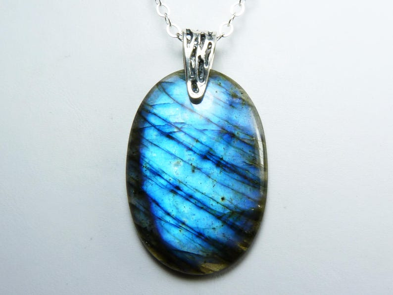 Large Blue Labradorite and Sterling Silver Pendant Necklace image 0