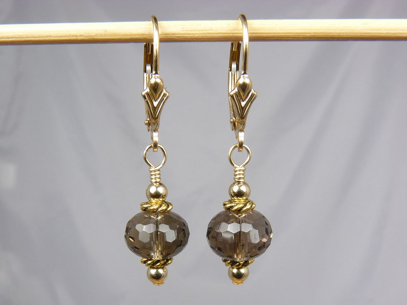 Faceted AAA Smoky Quartz and Gold Earrings with Gold Leverback image 0