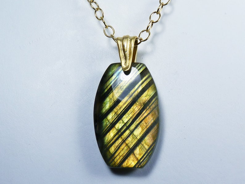 Large Flashy Labradorite and Gold Pendant Necklace Fiery Gold image 0
