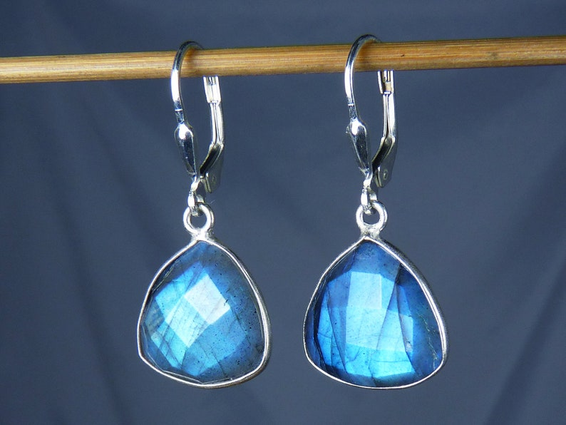 Super Flashy Faceted Natural Labradorite Earrings Bright Sky image 0