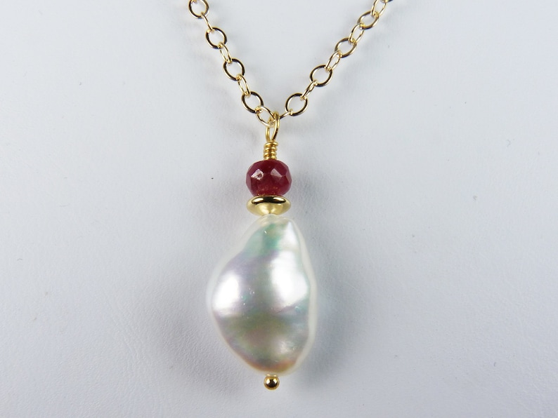 Keishi Style Coin Pearl Necklace with a Gorgeous Large Pearl image 0