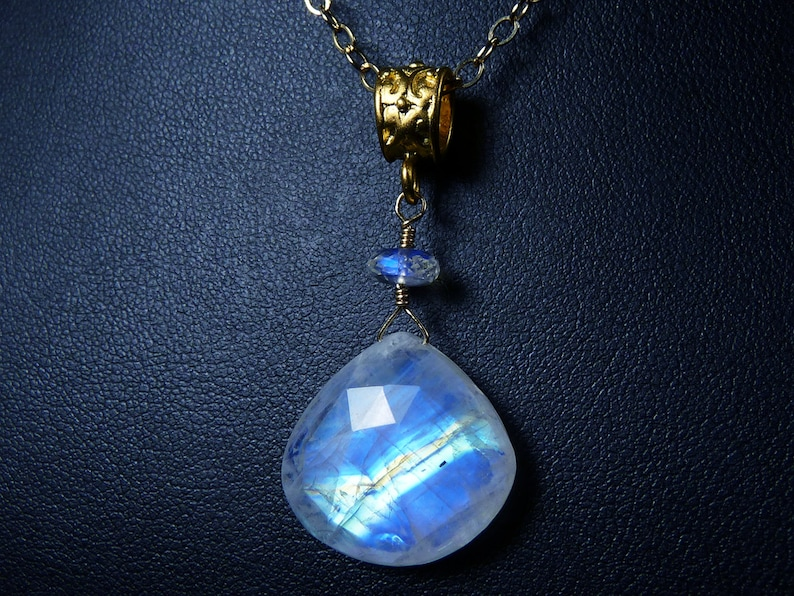 Faceted AAA and AAAA Rainbow Moonstone and Gold Pendant image 0