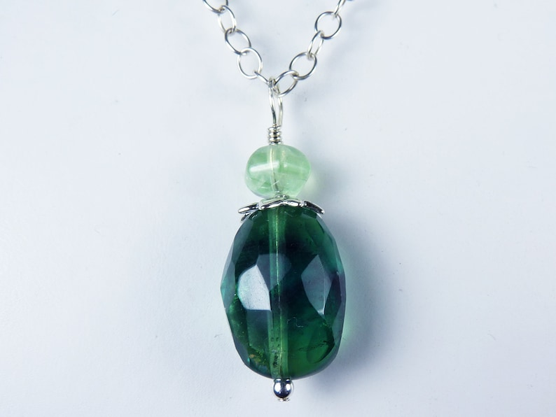 Large Faceted Translucent Green Fluorite Nugget and Sterling image 0