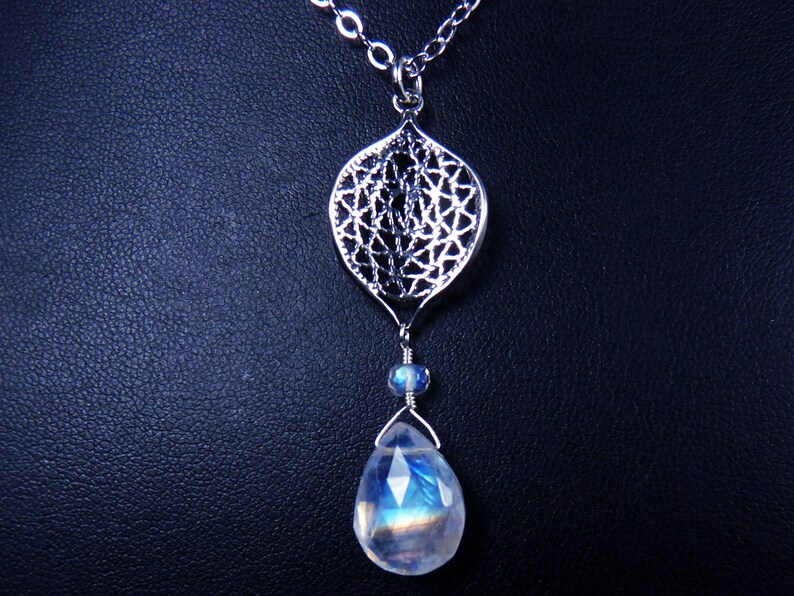 AAAA Faceted Translucent Rainbow Moonstone and Sterling Silver image 0