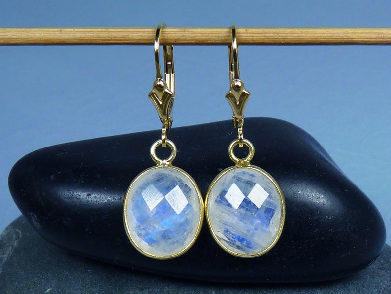 Faceted Rainbow Moonstone and Gold Earrings Bezel-Set Blue image 0