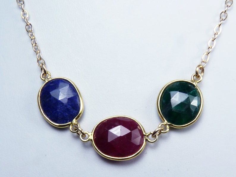 Genuine Ruby Sapphire and Emerald Necklace Gold Bezel-Set image 0