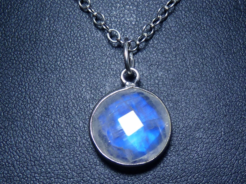 Petite 15mm Faceted Natural Blue Rainbow Moonstone and image 0