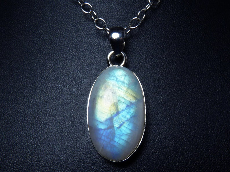Large Multicolor Rainbow Moonstone and Sterling Silver Pendant image 0