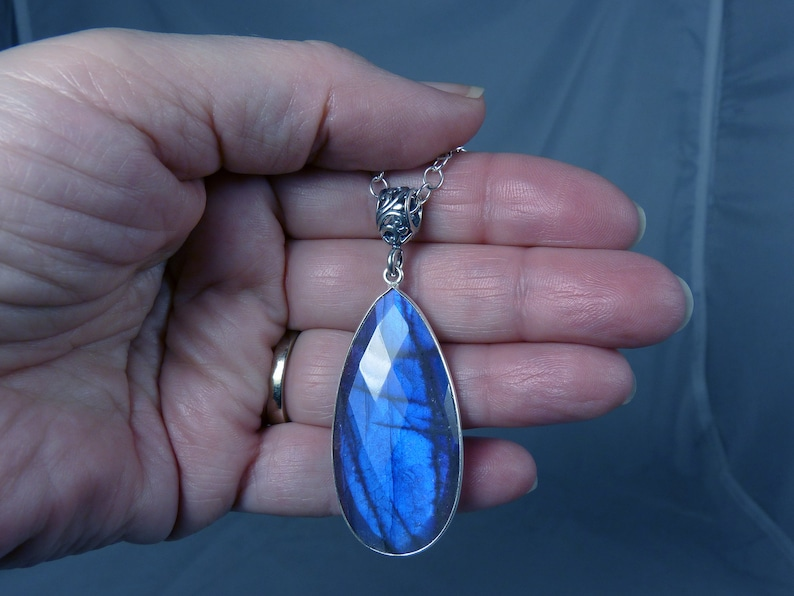 HUGE AAAA Faceted Flashy Blue Labradorite and Sterling Silver image 0