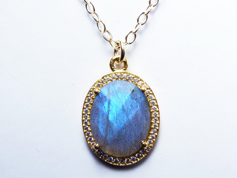 Faceted Labradorite and Cubic Zirconia Necklace Faceted image 0
