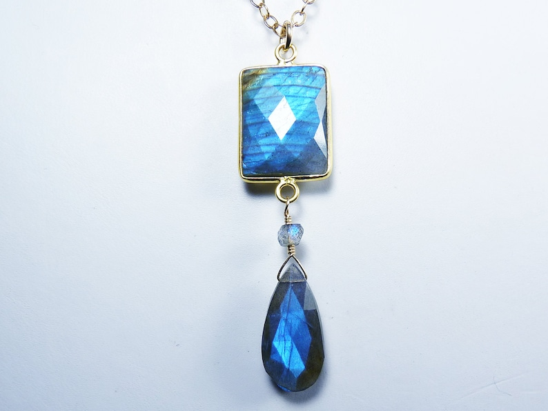Large AAA Flashy Faceted Blue Labradorite and Gold Pendant image 0