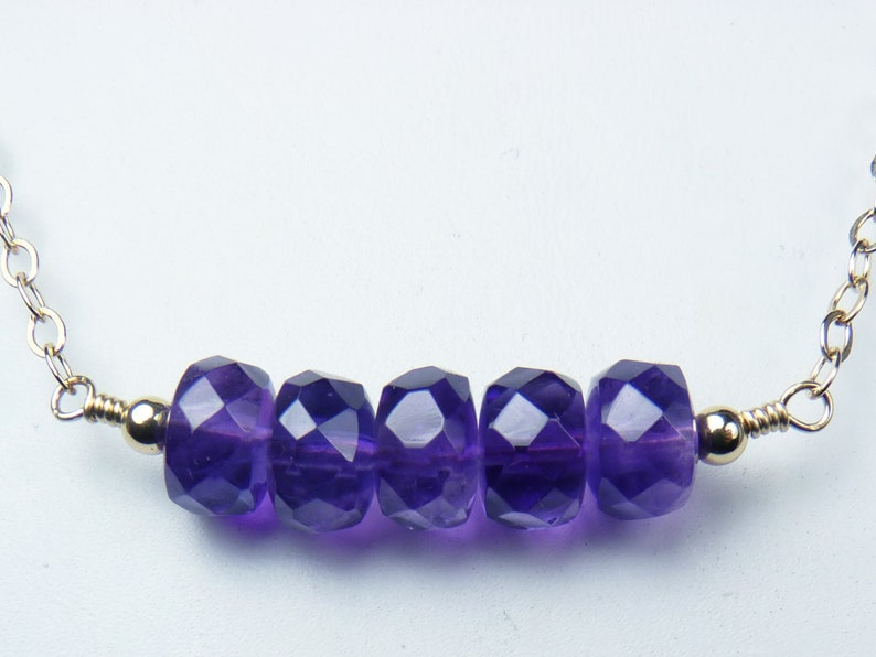 Faceted Purple Amethyst and Gold Bar Necklace Large Luscious image 0