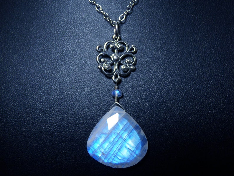 Large AAA Faceted Rainbow Moonstone and Sterling Silver image 0