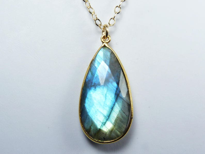 Faceted Blue Labradorite and Gold Necklace Super Flashy image 0
