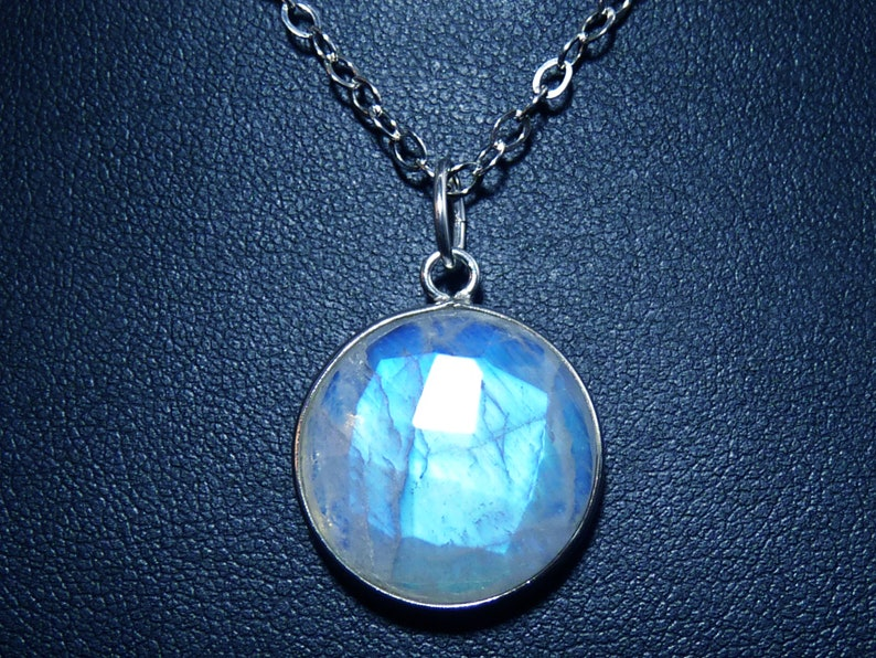 Faceted Rainbow Moonstone Disk and Sterling Silver Pendant image 0