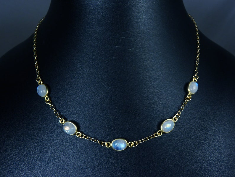 Rainbow Moonstone Cabochon and Gold Bezel Necklace Five image 0