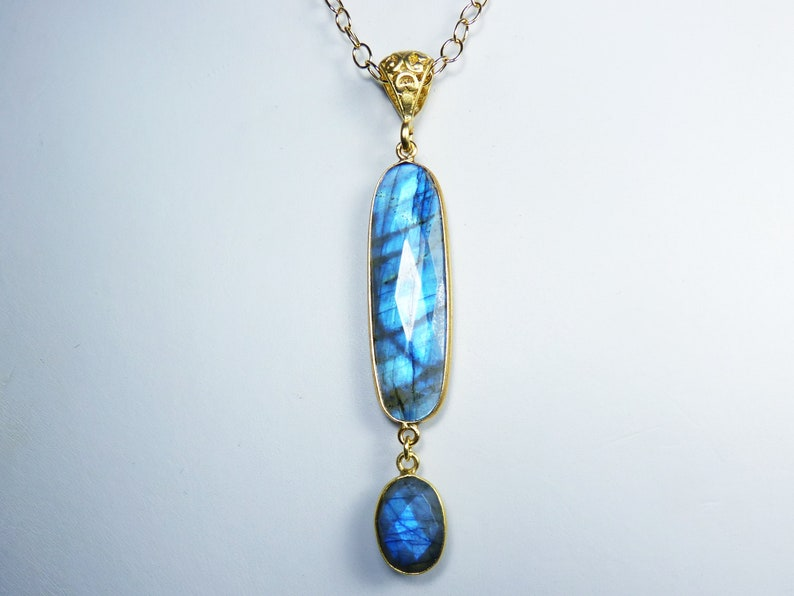 Huge LONG Flashy Faceted Blue Labradorite and Gold Pendant image 0