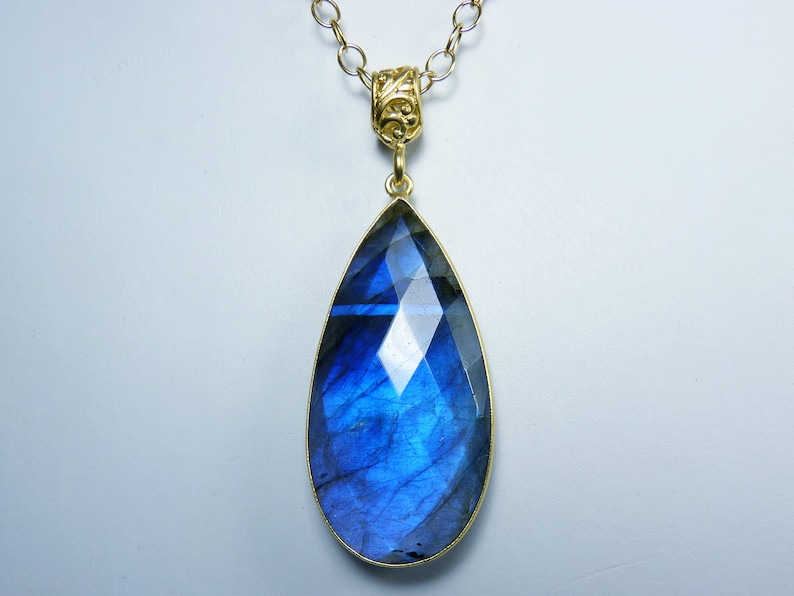 HUGE AAAA Faceted Flashy Blue Labradorite and Gold Bezel-Set image 0