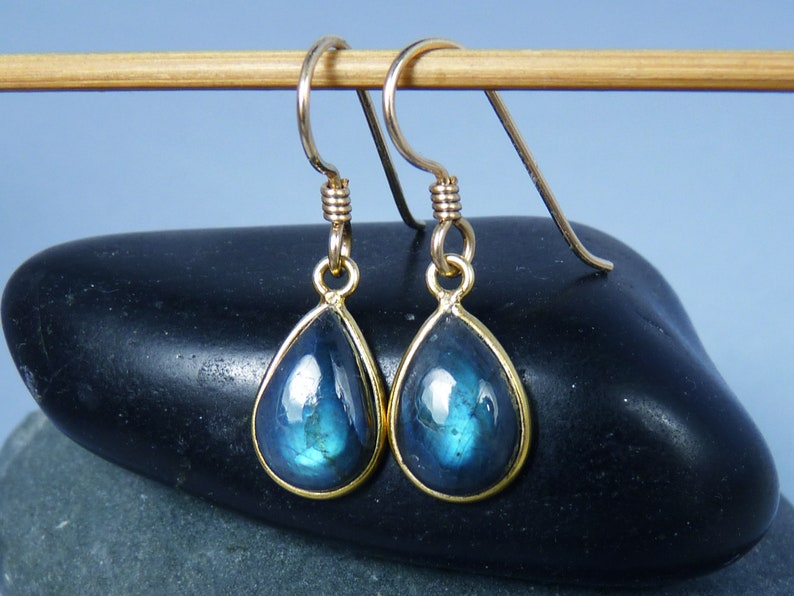 Flashy Labradorite and Gold Teardrop Earrings Bezel-Set image 0