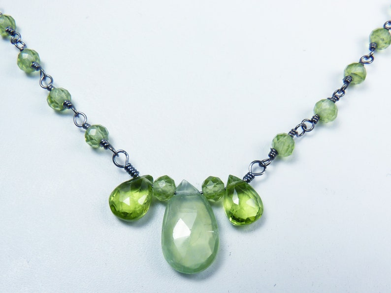 Faceted Peridot Prehnite and Oxidized Silver Pendant image 0