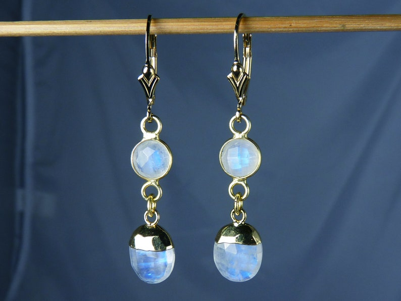 Faceted AAA Rainbow Moonstone and Gold Leverback Earrings image 0