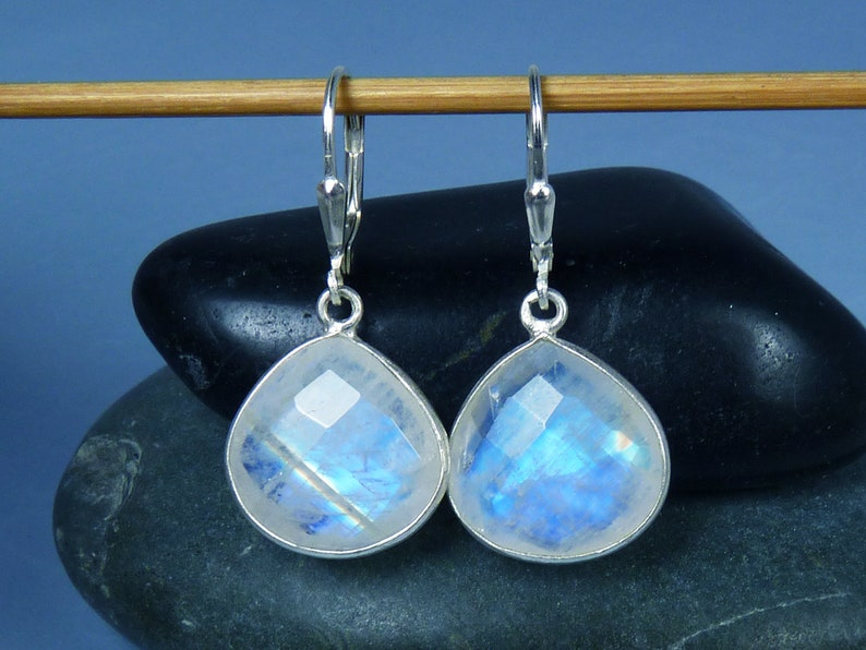 Faceted Rainbow Moonstone and Silver Bezel Earrings image 0
