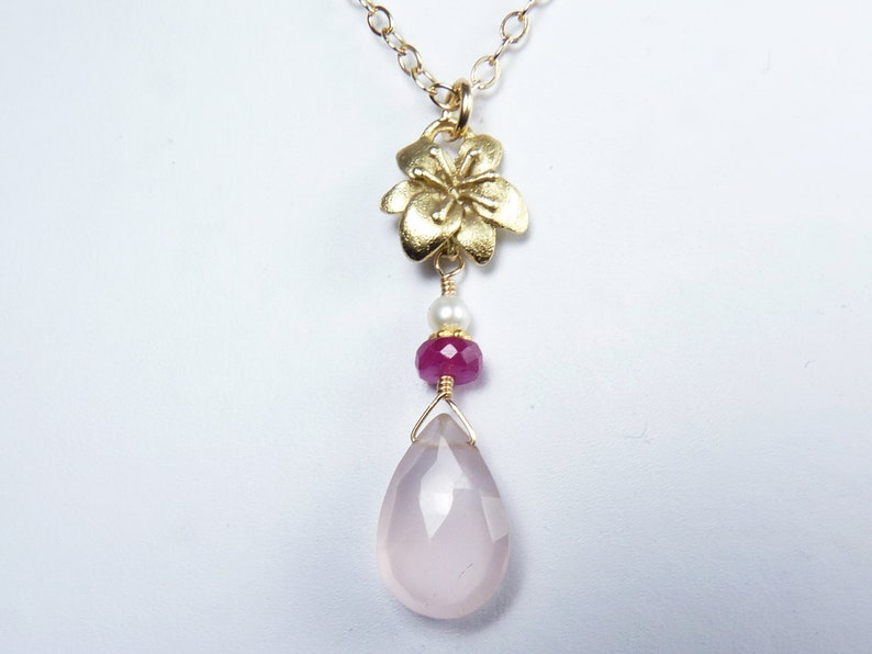 Faceted Pink Rose Quartz Raspberry Pink Sapphire and Pearl image 0