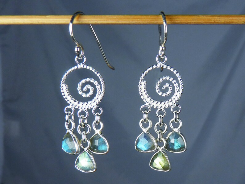 Faceted Labradorite and Sterling Silver Chandelier Earrings image 0