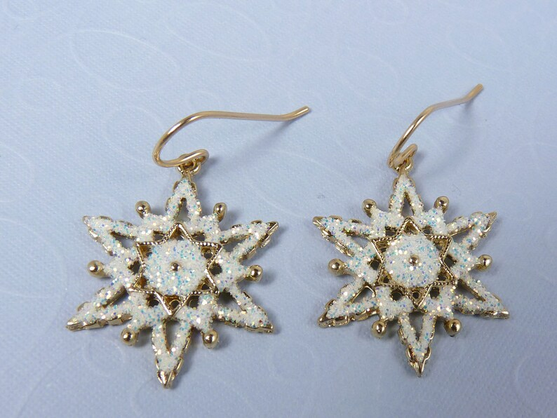 Gold and White Snowflake Earrings with White Enamel Sparkling image 0