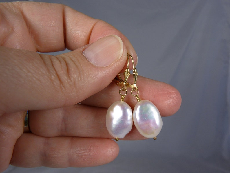 Large White Pearl and Gold Earrings Large Keishi Style Coin image 0