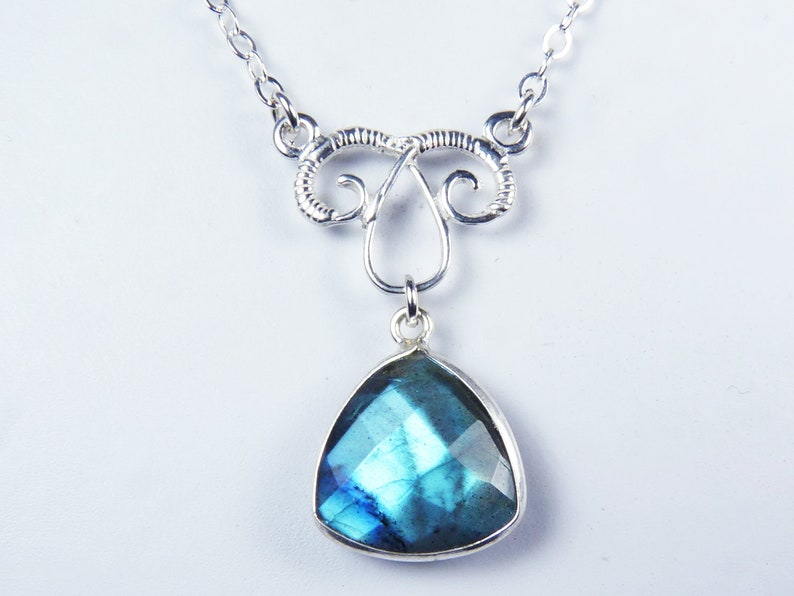 Faceted Flashy Blue Labradorite and Silver Bezel Pendant image 0