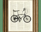STINGRAY BIKE beautifully upcycled vintage dictionary page book art print