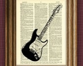Fender Stratocaster Guitar illustration beautifully upcycled dictionary page book art print