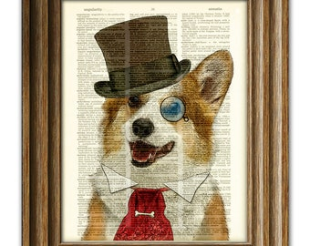 35c9982fea0 Dandy Corgi is the goodest boy dog in top hat and Victorian tie steampunk  art vintage dictionary page book art print