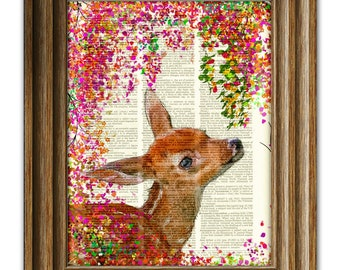 Baby Fawn and Flowers fantasy art print Juju the Deer illustration beautifully upcycled dictionary page book