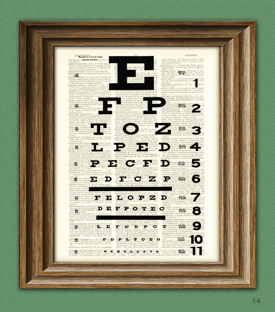 Eye Chart Art Print Awesome Upcycled Vintage Dictionary Page Etsy