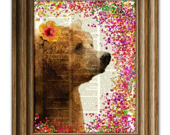 Bear and Flowers fantasy art print Pearl the Brown Bear illustration beautifully upcycled dictionary page book