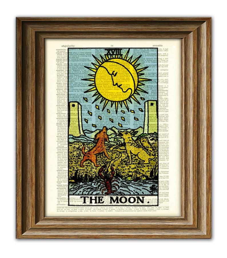 The Moon Major Arcana Tarot Card print over an upcycled image 0