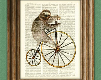 Holden the Hipster Sloth on a Penny Farthing bicycle dictionary page book art print