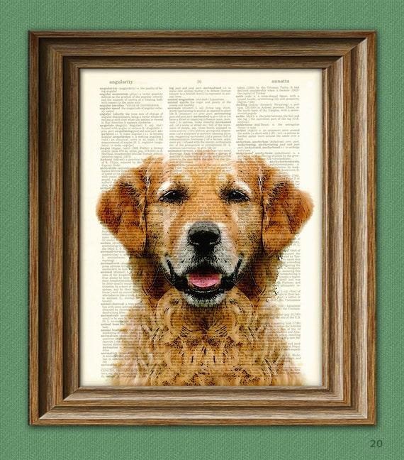 Golden Retriever Impresión Vintage Diccionario página Pared Arte Imagen Perro en ropa