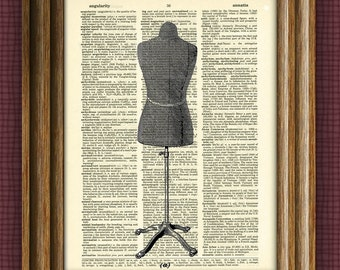 Cool DRESS FORM print over an upcycled vintage dictionary page book art