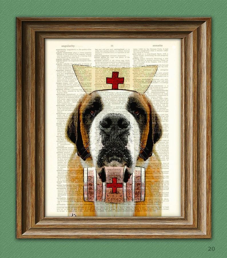 aa9cc2af4bb4 Nurse Slobber Saint Bernard Dog with whiskey keg and red cross